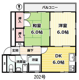 下田マンション・202号室の間取り