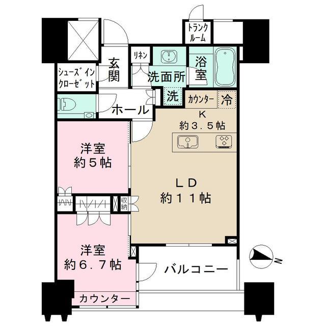 パークコート文京小石川ザタワー・2908号室の間取り