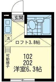 ユナイト横浜ブルージュの杜・202号室の間取り
