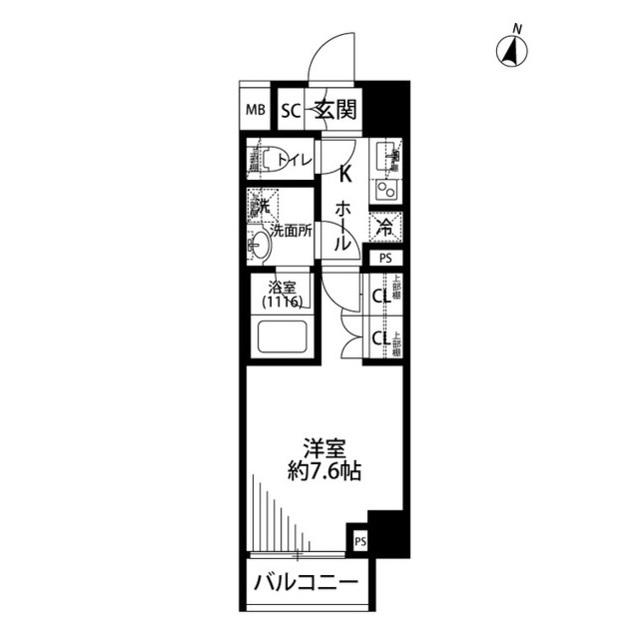 プレール・ドゥーク世田谷代田・509号室の間取り