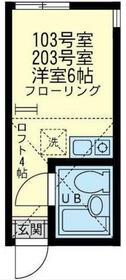 ユナイト洲崎フェリペ・スコラーリ・203号室の間取り