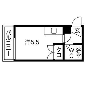 コスモ川名・2B号室の間取り