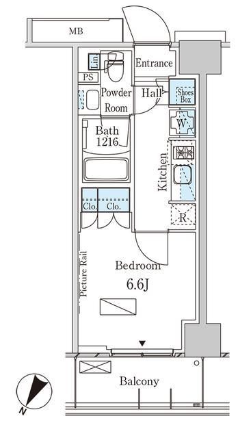 パークアクシス横浜大通り公園・916号室の間取り