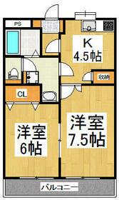 安松ハイツⅢ・202号室の間取り