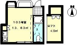 シャトル武蔵境・103号室の間取り