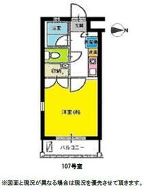 スカイパレス西新宿・107号室の間取り