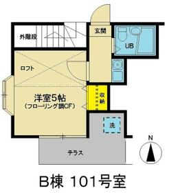 グランドール和田町B棟・101号室の間取り