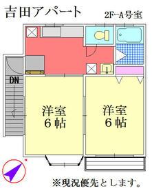 吉田アパート・2F-A号室の間取り