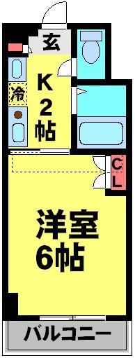 パルテール江戸川台・323号室の間取り