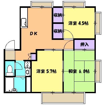 第2エステートISHII B・1号室の間取り