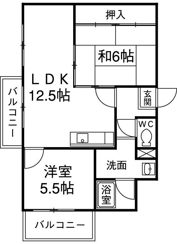 レジデンス内田橋・5B号室の間取り