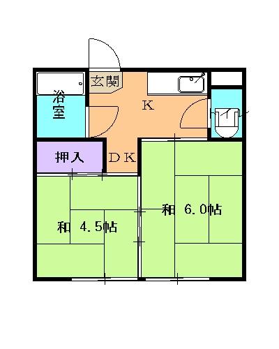 第2上中荘 205号室の間取り