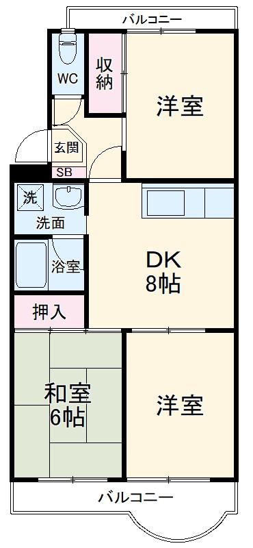 田沼レジデンス宮前平・507号室の間取り