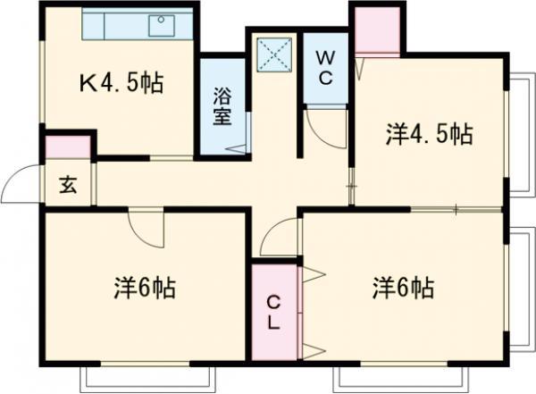 東宝木コーポ(5階建) 402号室の間取り