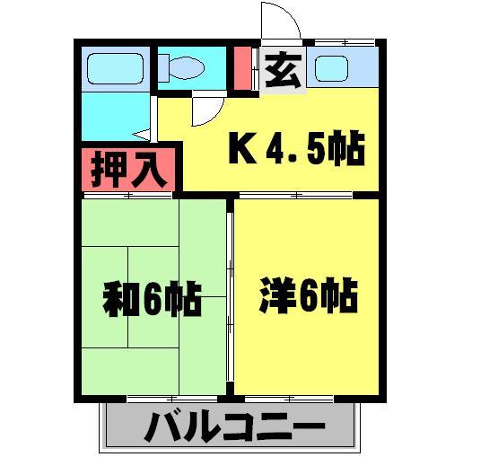 メゾンミヤコ湖北 Ⅱ・101号室の間取り