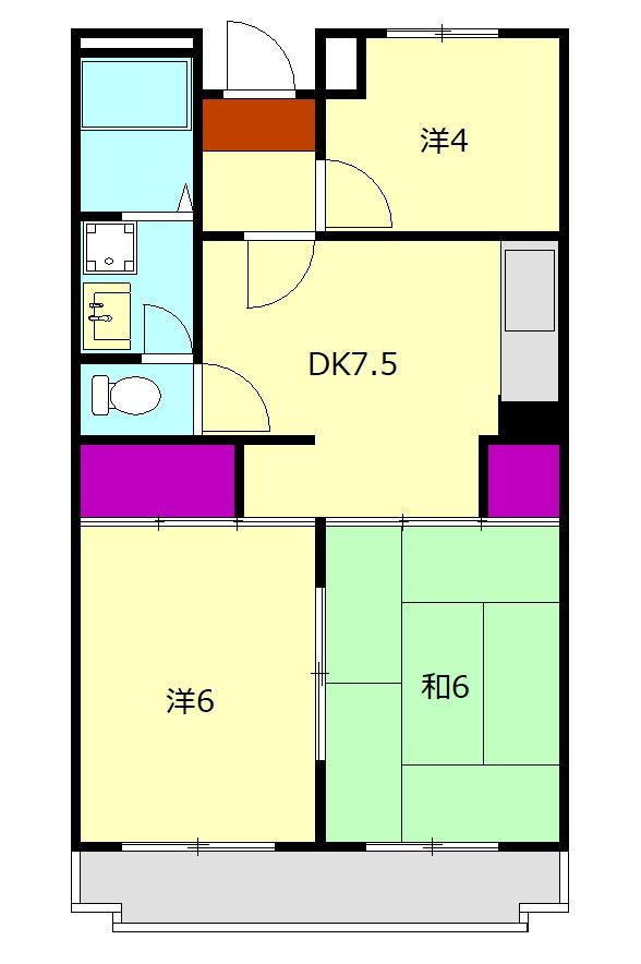 城山・松本マンション 402号室の間取り