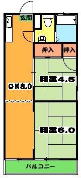 コーポ井垣 201号室の間取り