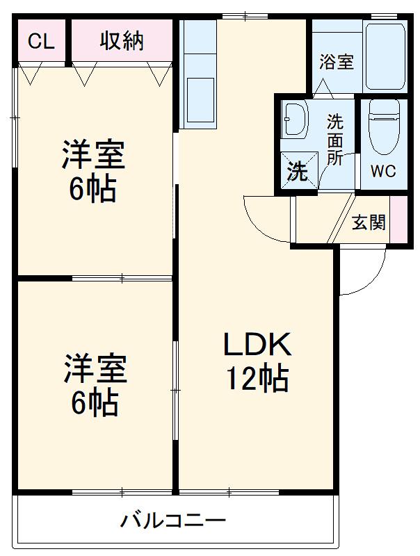 石川ハイツC・208号室の間取り