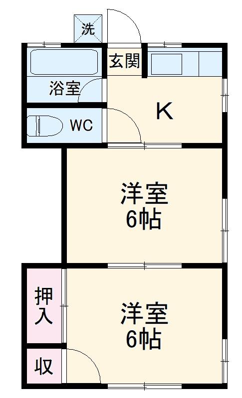 一寸木アパート 201号室の間取り