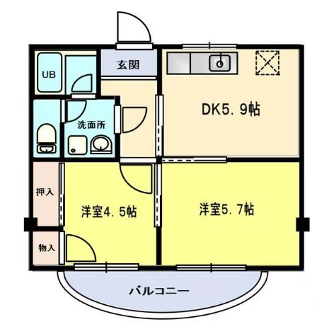 ドミノ箱根マンション・12号室の間取り