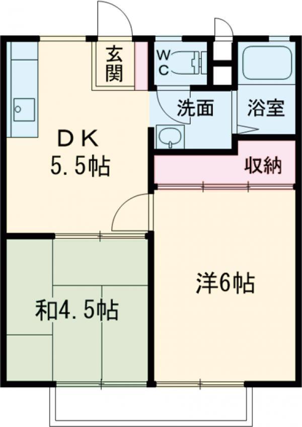 釜井ハイツA・101号室の間取り