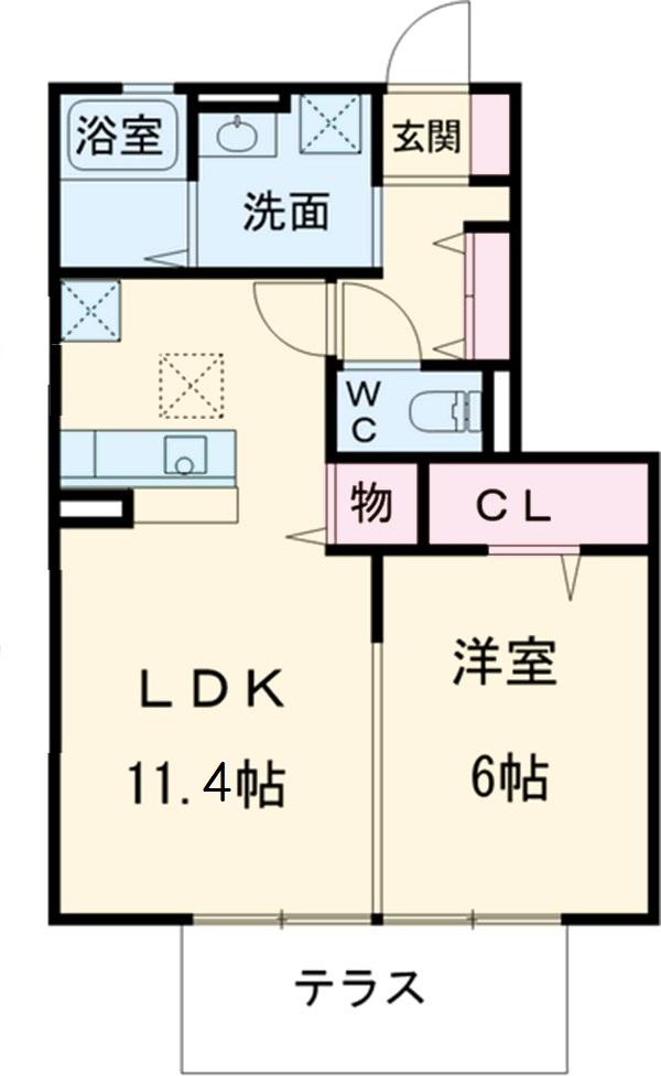 クリスタルD-room・D-2号室の間取り