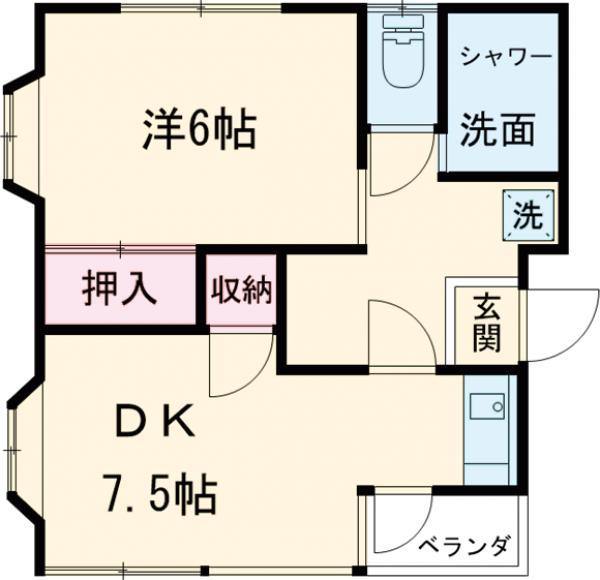 サンケーコーポ小宮(A~C)・B103号室の間取り