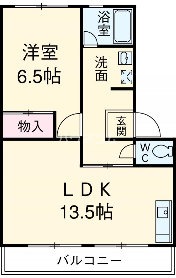 六軒屋農住団地みゆきコーポ 405号室の間取り