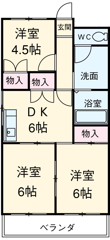 第3サンヨーマンション 603号室の間取り