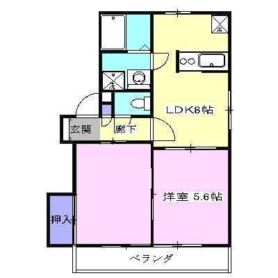 アパートメント294番館A棟・A201号室の間取り