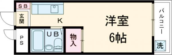 グリーンハイム桜塚・303号室の間取り