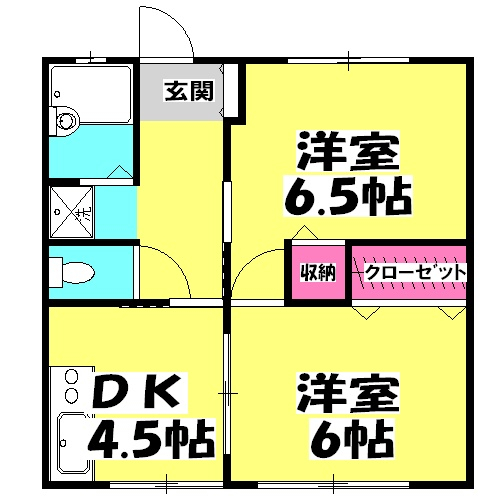 レジデンス上野田Ⅰ・102号室の間取り