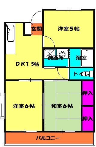 メゾングランドール柴崎 3-D号室の間取り