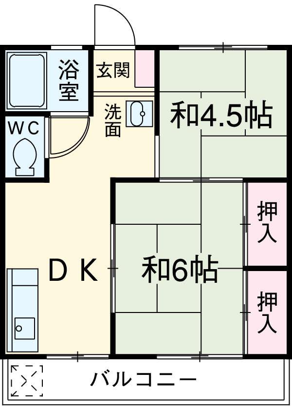 名志窪第1マンション・206号室の間取り