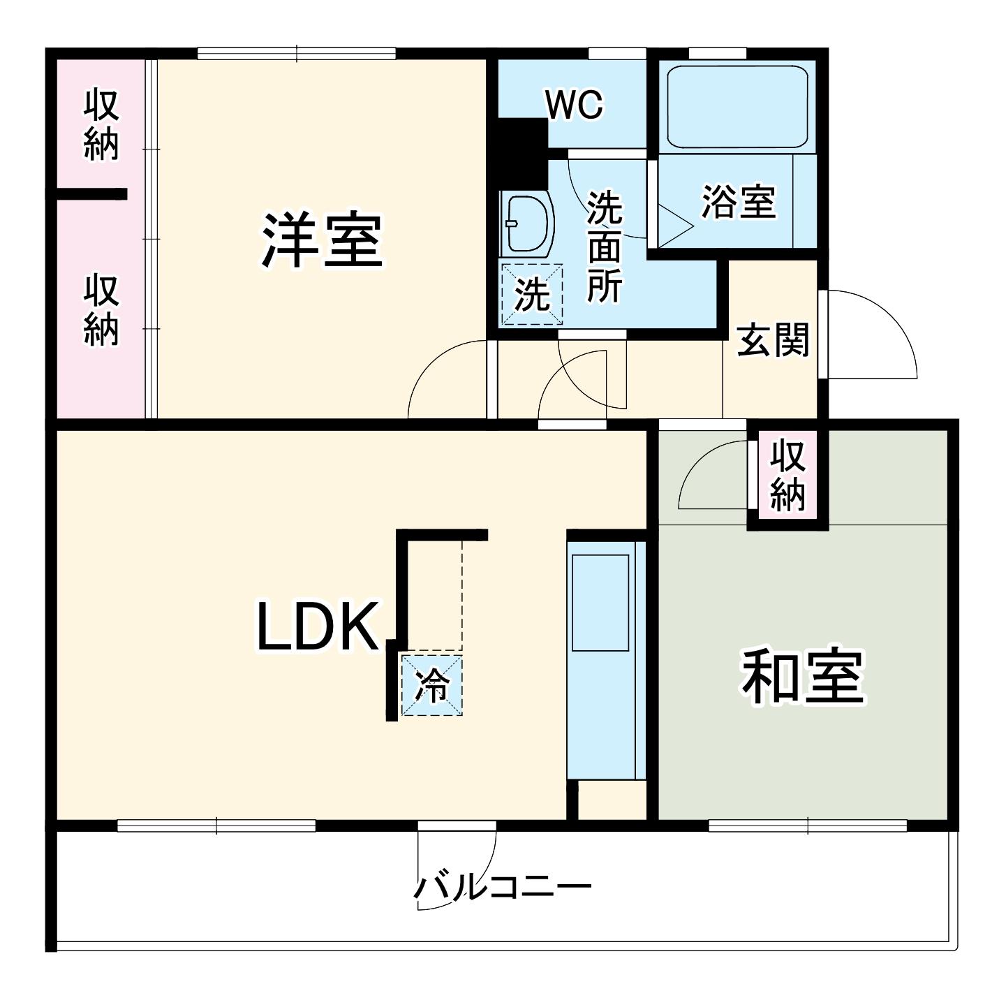 関田農住団地コーポつかさ 302号室の間取り