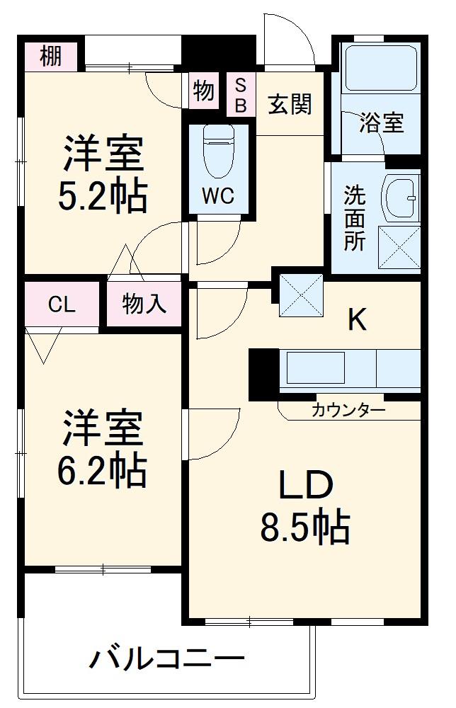 タートルクレインふじみ野Ⅱ・313号室の間取り
