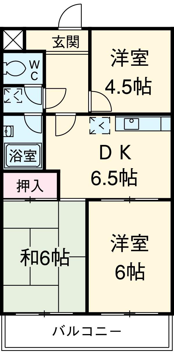サンライン岐阜コーポ・402号室の間取り