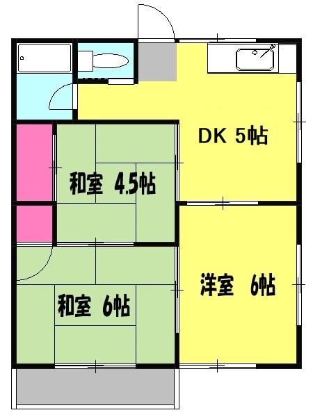アムール秋山B・202号室の間取り