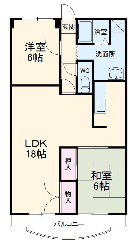 第2サンシャインマンション・202号室の間取り