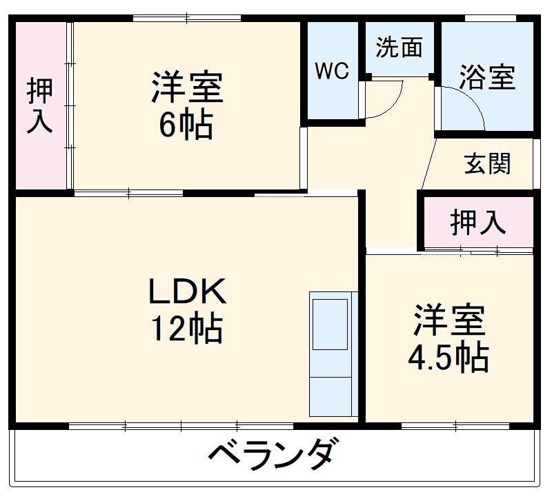 佐野アパート・208号室の間取り