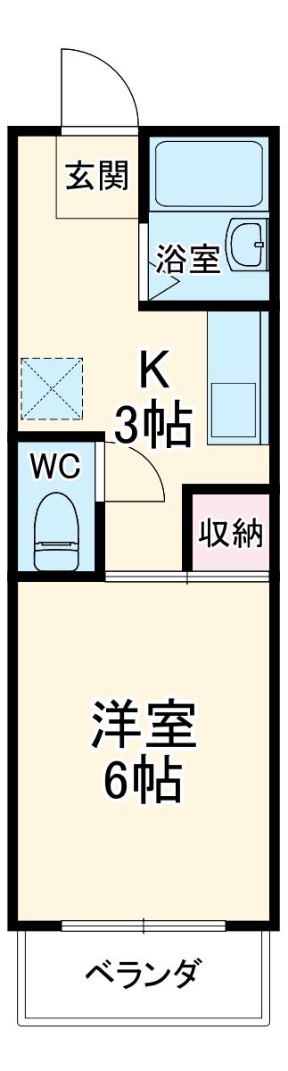 コスモキヌガサB・208号室の間取り