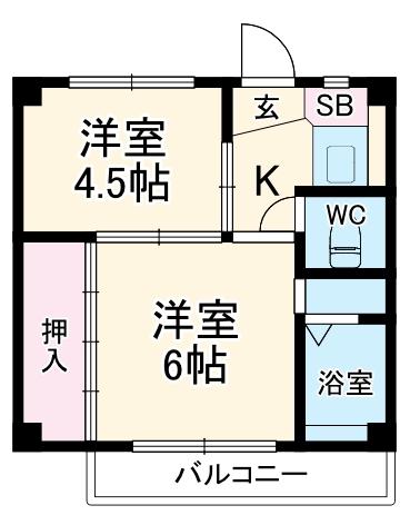 ビレッジハウス石坂1号棟・402号室の間取り