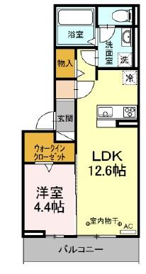 アンプルールK・203号室の間取り