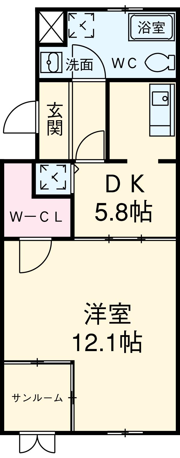レインボーカーサ内田橋・303号室の間取り