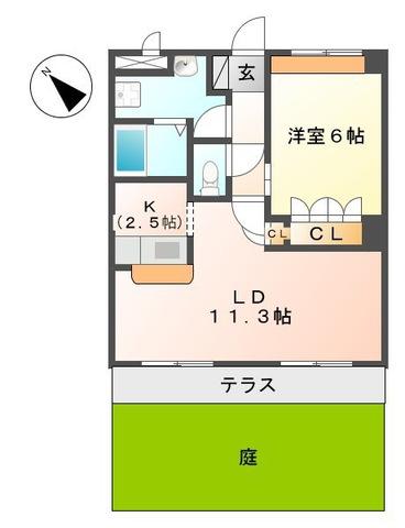 ガーデンヒルズNAKAYAMA弐番館・106号室の間取り