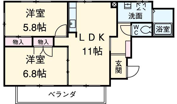三鈴シティ・401号室の間取り