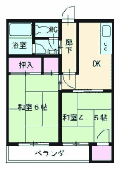 マンション草薙・2B号室の間取り