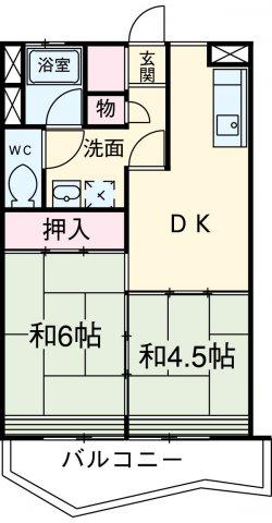 中駒九番団地 8号棟 1203号室の間取り