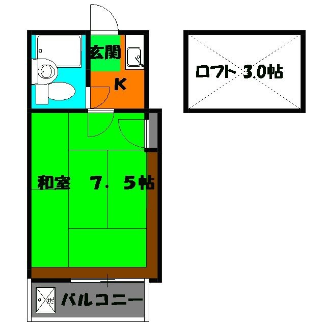 ヴィラ・ウィスタリア(加曽利町)・102号室の間取り
