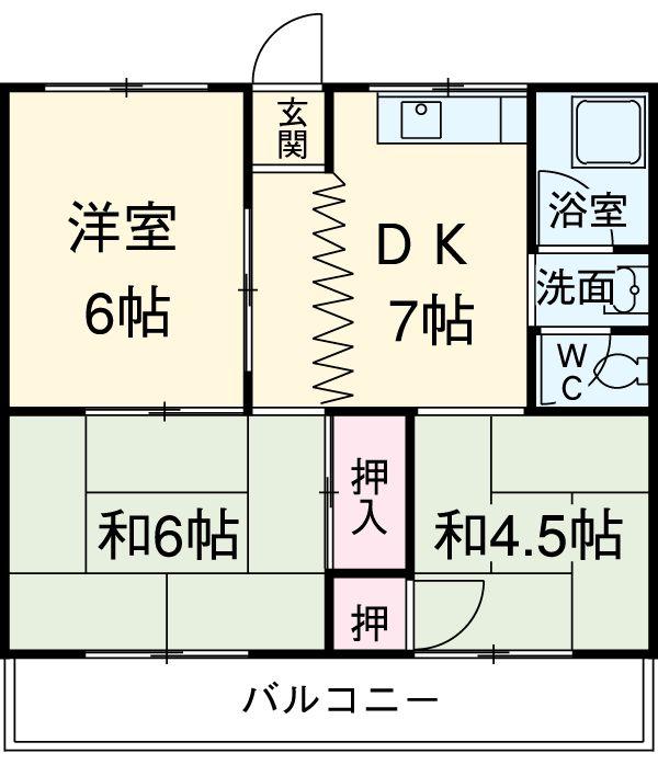 都築アパート 202号室の間取り